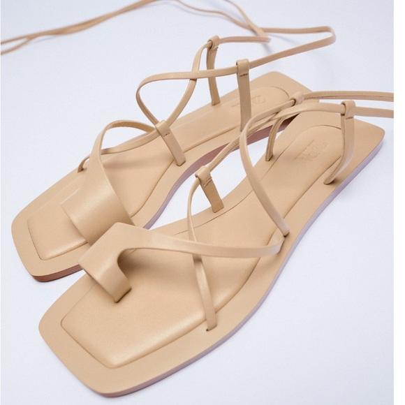 Zara Beige Leather ankle tie sandals